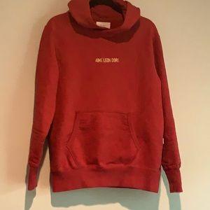 Aime Leon Dore dark red hooded sweatshirt